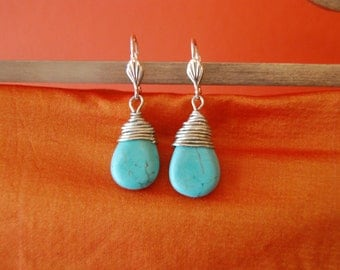 Silver and Turquoise Earrings Dangling Wire Wrapped