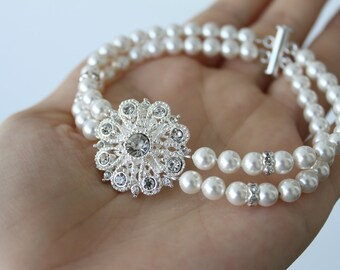 Bridesmaid gift Pearl Bracelet Wedding Jewelry, bridesmaids jewelry, bridal party gift, pearl jewelry, bracelet set, bridesmaid gift