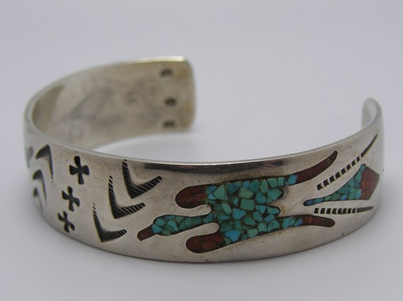 Vintage Thunderbird Native American Indian Peyote Bird Navajo Zuni Design Sterling Silver Cuff Bracelet Turquoise and Red Coral