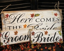 Wedding Signs Package/Here Comes the BRIDE/Just Married/Bride/Groom Chairs Signs/Reversable/Photo Prop/U Choose Colors/Fall