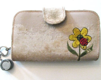 60s/70s Natural Distressed Old Rose Wallet w/ Coin Holder // Vintage Shabby Chic Wallet Clutch