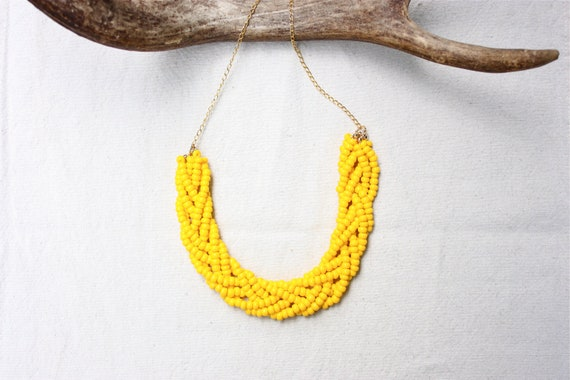 Braided Bead Necklace // Yellow