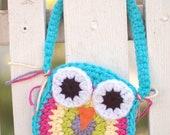 Aqua Blue Crochet Owl Purse
