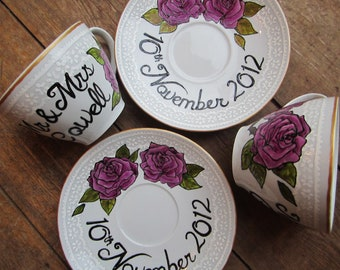 Pair of lace effect hand painted wedding tea cup and saucers, personalised gift or decoration