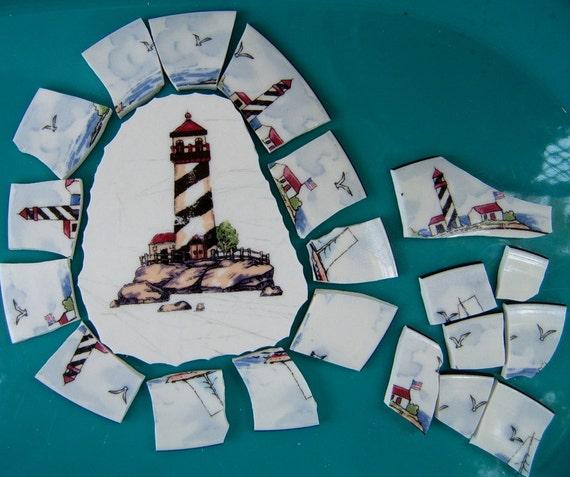 Broken China Mosaic Focal, Lighthouse, Mosaic supplies, Hand Cut,
