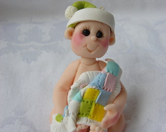 Personalized First Christmas Birthday  Polymer Clay Childrens Cake Topper Christmas Ornament Figurine.  A handcrafted art sculpture.
