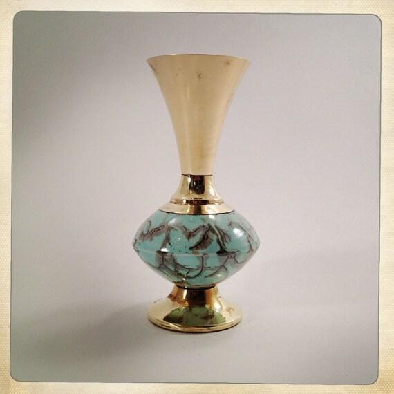 vintage vase brass porcelain Delft aqua and gold