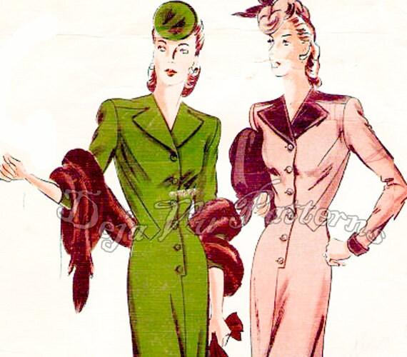 Vogue 336 Vintage Couturier Design 1940s One Piece Dress Sewing Pattern Size 14