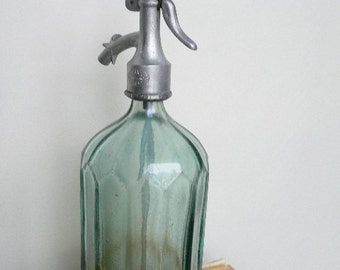 Vintage  Light Green Seltzer Bottle - Romanian vintage bottle with aluminium top - home decor - bars decor - industrial decor