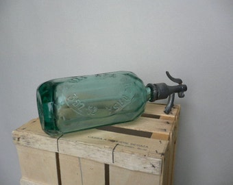 Very rare Vintage Romanian Green Seltzer Bottle - home decor - bars decor - industrial decor