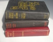 Set of 3 Vintage / Antique Books for Halloween Decor -- Free Shipping