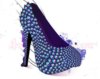 Glamourous Peacock Shoe - Fashion Illustration - POSTCARD