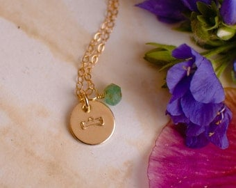 Tiny Libra Necklace - small gold Libra Zodiac Sign Pendant on 14k Gold Filled Chain with Chrysophrase or CHOOSE GEMSTONE - Tiny Dainty