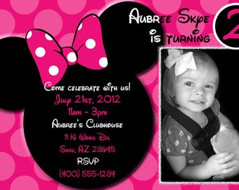 Pink Polka Dot Minnie Mouse Invitations OR Thank you card
