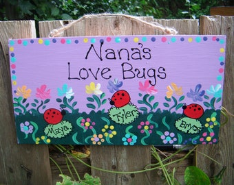 Personalized Grandmother ladybug plaque or sign