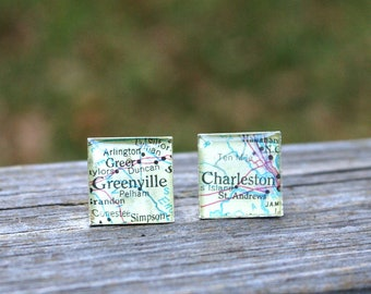 Destination Wedding Cufflinks - Custom Wedding Map Square Shape Gift For Groom or Father of the Bride Wedding Party Resin