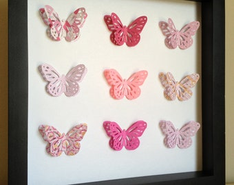 Pink Butterfly, 3D Paper Art - perfect for a new baby or little girl's room