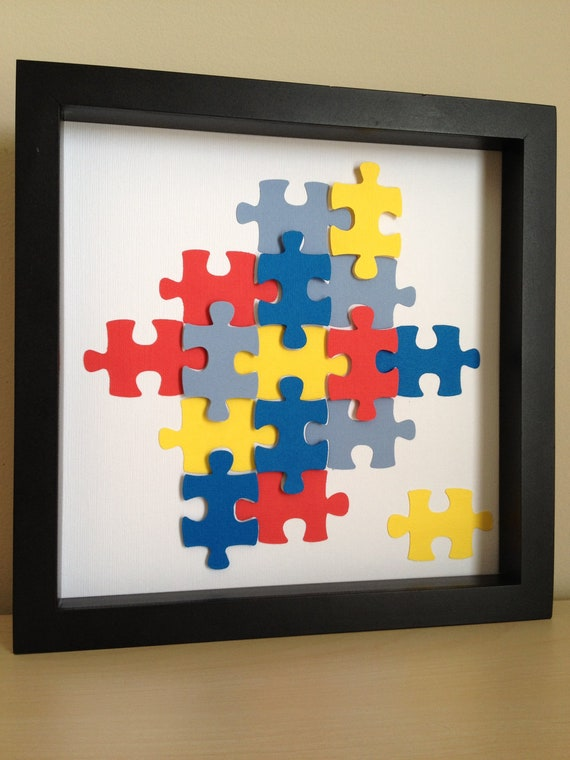 Autism Awareness Puzzle Piece, 3D paper art, that can be personalized