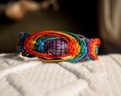 Rainbow Fish bone Hemp Bracelet With Mood Bead