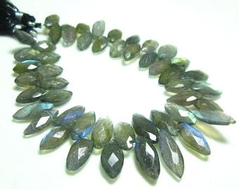 "Labradorite Faceted Marquiose Briolettes -7"" Strand -Stones measure- 5x9-6x15mm"