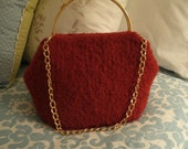 Hand knitted Felt Bag with detatchable shoulder Chain
