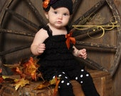 Halloween Gift Set - Adorned Hat, Ruffled Lace Petti Romper, Leg Warmers / Baby Legs - Halloween, Fall, Autumn - Baby, Girl, Child