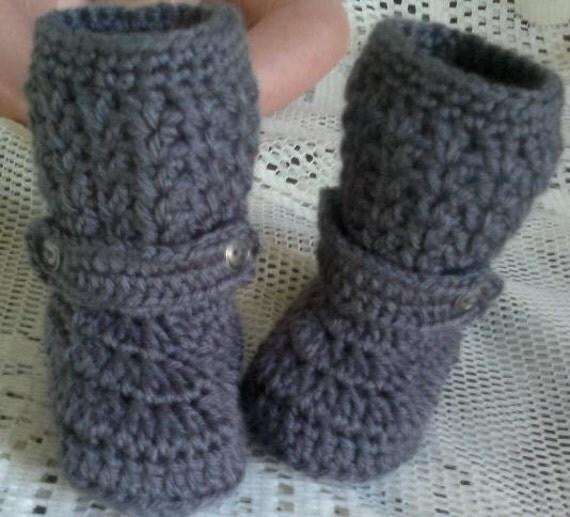 GREY crochet Knee High booties - Fit NEWBORN reborn dolls babies chausson bebe naissance