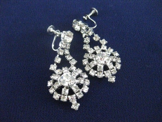 Elegant Vintage Rhinestone Dangle Drop Earrings Vintage Bridal