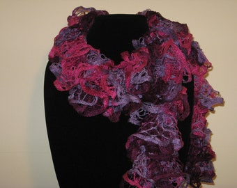 Scarf Hand Knit FREE SHIPPING Fuchsia and Purple Soft Lacy Elegant