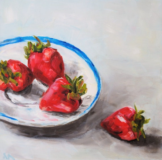 Four Strawberries - Original Still Life Oil Painting 6 x 6