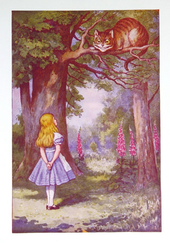 Vintage Alice In Wonderland Print Cheshire Cat 1970 S