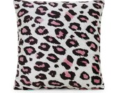 """16"""" X 16"""" Pink Microfiber Leopard Pattern Throw Pillow Cover"""