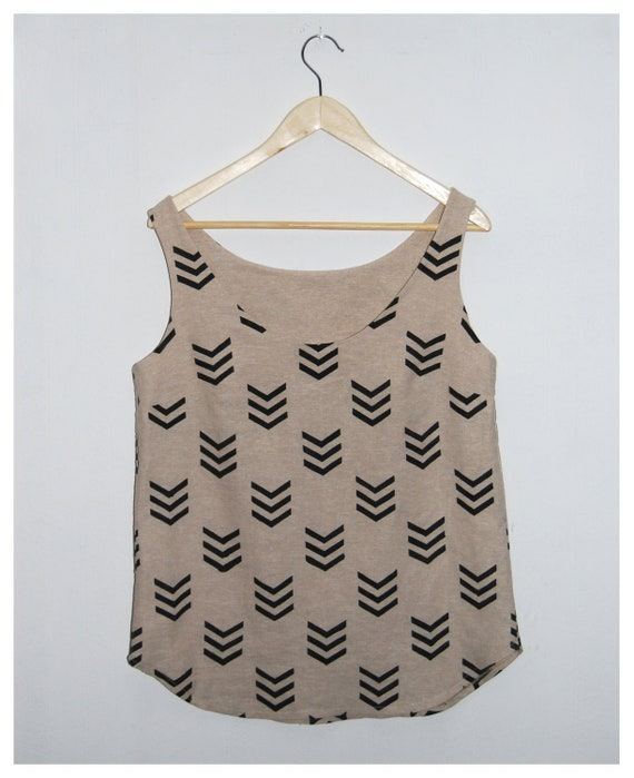 Hand printed loose linen top