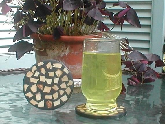 Handmade coconut shell tidbits  round coaster