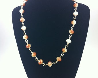 Mauve Cream Marblized Crystal Gold Wire Wrapped Necklace