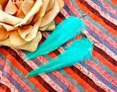 Turquoise Mermaid Boho Feather Earrings