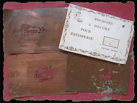 RESERVED- Instant collection set of 3 vintage french copper cake stencil - stencil for patry making from France
