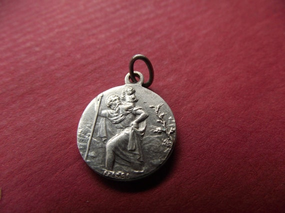 vintage French  silver medal st cristopher travel pray- Antique religious pendant-
