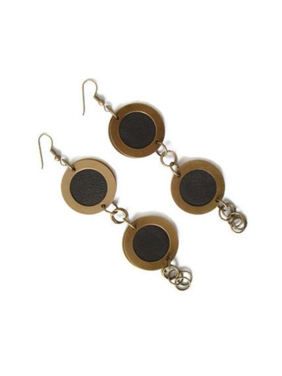 Bohemian Statement Earrings, Boho Jewellery, Leather Dangle Earrings, Gift for Her