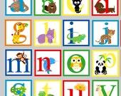 Reusable Animal Alphabet Wall Decal - FABRIC Wall Decal
