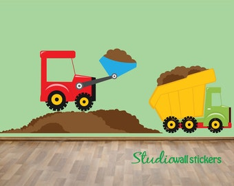 Dumptruck Wall Decal - Childrens Fabric Wall Decal - REUSABLE  DECAL