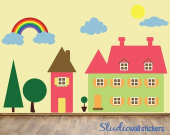 Houses Wall Decal , Fabric Wall Decal, Reusable Decal