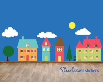 REUSABLE Houses Wall Decal - Childrens Reusable Decal