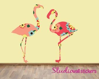 Flamingos Wall Decal - Childrens Reusable Decal