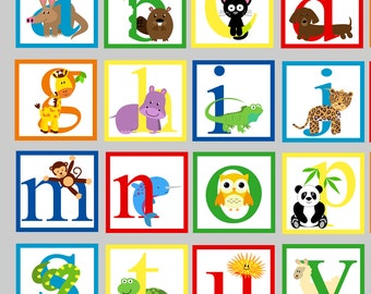 Reusable Animal Alphabet Wall Decal - FABRIC Wall Decal