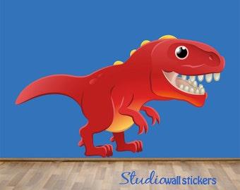 TRex Decal Wall Sticker Childrens REUSABLE Dinosaurs Wall Decal