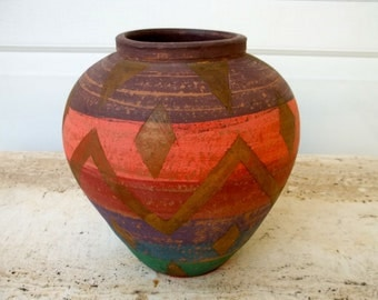 Hand Painted Hand Turned Clay Pot/Vase Earth Tone colors