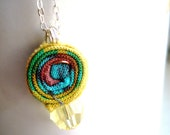 20% Sale Fabric Roll, Sterling Silver Necklace, Jonquil Swarovski Crystal Spiral Yellow Green Turquoise Colorful Happy Cute Simple