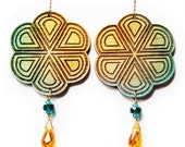 Peyote Button Wooden Earrings in Green and Gold