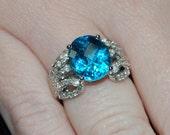 Ladies 6.07ct Blue Topaz & Diamond Ring in 14k White Gold Setting